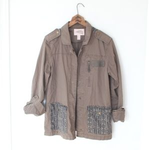 forever 21 fatigues green army aztec jacket M